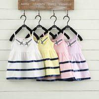 Cheap Lapel striped suspenders explosion models Hot girls summer dress children dress Korean children's clothing wholesale