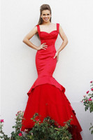 Wholesale 2014 Hot Sale Sexy Red Mermaid Beach Wedding Dresses Sweetheart Floor Length Sweep Train Taffeta Elegant Beach Bridal Wedding Gown E73