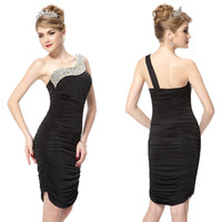 Wholesale One Shoulder Cocktail Dress Ruffles Rhinestones Sequins Padded Cocktail Dresses HE03482