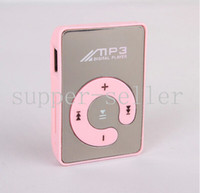 Wholesale Mirror Mini Clip MP3 Player Support TF MicroSD Card With Earphone USB Cable