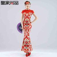 Cheap 2014 New Spring Long Bride Wedding Dresses Red Cheongsam Improved Chinese Fashion Toast Clothing Evening dress Sexy Cheongsam dress