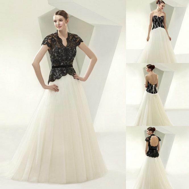 2015 New Two Piece 2 In 1 Black And White Lace Tulle Ball Gown ...