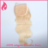 Cheap 100% Virgin Brazilian Straight Human Hair Weave Extension 1pc body wave Free part lace top closure4*4 blonde color 613#