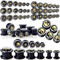 Wholesale Punk Solid Alloy Ear Tunnels Crystal Acrylic Ear Plug Expander Gauges Unisex Body Jewelry