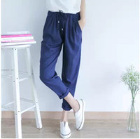 loose pants for women - Korean Style Summer Simple Fashion Casual Loose Solid Color Chiffon Harem Pants New For Women