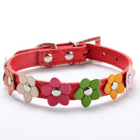 Wholesale Sweet Flower Studded Puppy Pet Dog Cat Collar Leather Buckle Neck Strap Collar LX0143 Free Drop Shipping