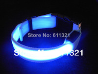 Wholesale Hot Pet Dog Cat LED Glow Collar Nylon Electric Training Collars Products for Dogs Blue Pink Green Red size XS S M L