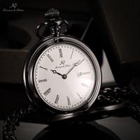 Men's antique clock case - Luxury Brand KS Retro Black Case Auto Date Roman Numerals Classic Male Clock Men Pendant Fob Pocket Watch Original Box KSP025