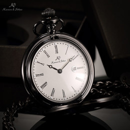 Wholesale Luxury Brand KS Retro Black Case Auto Date Roman Numerals Classic Male Clock Men Pendant Fob Pocket Watch Original Box KSP025