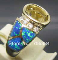 Cheap Oval 7*9mm SOLID 14K YELLOW GOLD DIAMOND Wedding Engagement & OPAL SEMI MOUNT SETTING RING