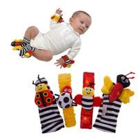 Cheap New 4 Pcs Cute Baby Bug Bee Infant Plush Foot Socks Wrist Watch Band Rattles Set Toy #52448