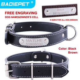 Wholesale Retail Real Cow Leather Engraving Tag DIY Name Dog Collar Free Engraving pet name owner phone NO off for