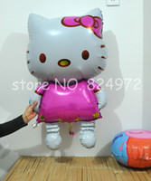 Wholesale High quality walking standing hello kitty balloon for birthday or wedding party decoration Aluminum Foil Balloons helium balloon