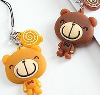 Cheap romantic plastic cement cellphone accessory lovers chocolate bear Gift& free shipping