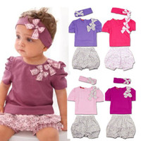 Wholesale Amissa pieces girl Suits t shirts Floral shorts bowknot headbands colours short sleeved tops pants for Children