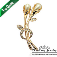 Wholesale ZYX023 Tulip Imitation Pearl Crystal Brooches K Champagne Gold Plated Jewelry Austrian Crystal