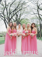 Cheap 2014 Cheap Under $50 A-line Sweetheart Pleats Empire Floor Length Hot Pink Chiffon Prom Party Gowns 2014 Beach Bridesmaid Dresses fuchsia
