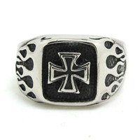Wholesale Hot Top Fashion Jesus Cross Fire Shape Ring For Men L Stainless Steel Punk Style Band Party Silver Cross Ring