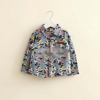 Cheap 2014 Autumn Children Clothing Baby Boy Clothes Mickey Mouse Denim Fabric Boys Long Sleeve Shirts Cardigan Coat boy Cloth 80-120cm K0337