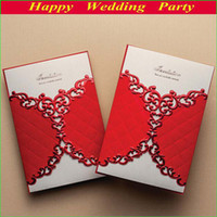 Cheap 2014 Vintage Laser Cut Flower Wedding Invitations Cards in Red with Envelope and Seal Free Shipping