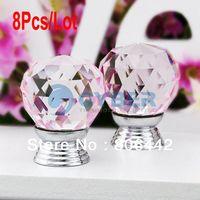 Cheap Cheap 8Pcs Lot 30mm Glass Crystal Cabinet Knob Drawer Pull Handle Kitchen Door Wardrobe Hardware Clear Pink TK0739
