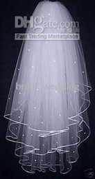 Wholesale 3 Layers White Wedding Bridal Dress Tiara Beads Veil Hot Sale Bridal Wedding Veils Short Tulle Cheap High Quality Bridal Veils Hot Sale