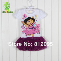 Wholesale MN Girls Dresses Summer Girl Dora suit the Explorer princess dress girls clothing Short sleeve dress Litte spring GLZ Q0143