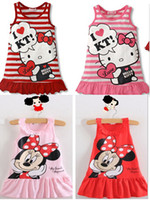 Wholesale MN SQ175 Newest Baby Girls Cute Mickey Mouse Minnie Dress Red Pink One Piece Dress Girls Summer Sundress