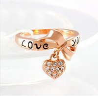 Wholesale 201407H Black Enamel Love You Ring Heart Bow K Rose Gold Plate Austrian Crystal Rings