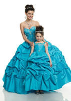 Wholesale 2014 Hotel Sale Taffeta Ball Gown Blue Beaded Bodice with Picked Up Ruched Kids Flower Girls Dress Gown For Wedding Party j