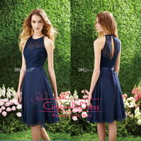 Wholesale 2015 Short Navy Blue Cheap Bridesmaid Dress Halter High Neck Cutout Back Lace Knee Length Beach Cocktail Gowns Prom Dress