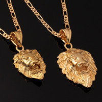Wholesale Lion Head Men Jewelry Cool Gift Trendy Sizes Options K Real Gold Plated Exquisite Necklaces Pendants P215