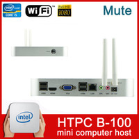 Wholesale 2014 Newest HTPC mini computer host Graphics Wireless Living room computer Radiating Mute G WiFi dual core HDMI LAN GB free DHL shipping