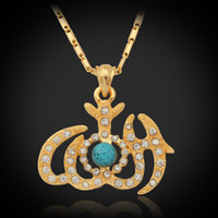 African islamic necklace - New Allah Pendants Items Women Men Jewelry K Real Gold Plated Turquoise Rhinestone Islamic Necklaces Pendants P257