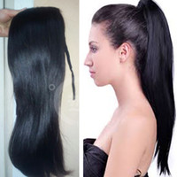 Wholesale g straight ribbon ponytail hairpiece hair pieces clip in hair extensions natural black color human hair Ponytails