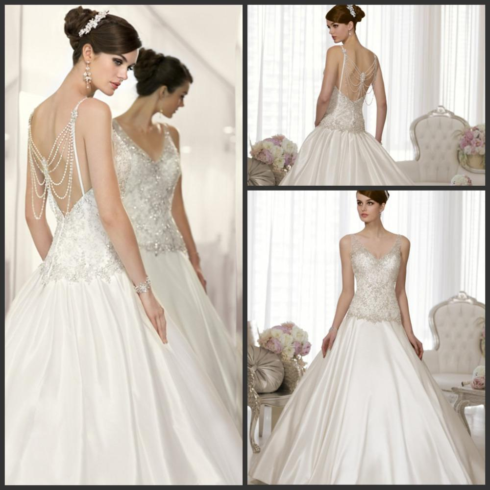 Classical vintage inspired ball gown wedding dresses for Waterfall design dress