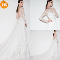 Cheap Graceful 2014 Custom Made A-Line Bridal Gowns Illusion Neckline Backless Long Sleeve Lace Applique Cathedral Train Chiffon Wedding Dresses