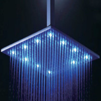 Wholesale 16 quot LED HUGE SOLID BRUSHED FINISHED SQUARE MIXER SHOWER HEAD