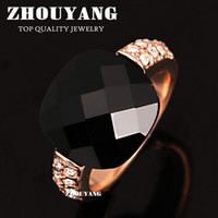 With Side Stones Women's Party ZYR339 Black Acrylic Vintage Party Rings Cat Ring 18K Rose Gold Plated Made with Genuine Austrian Crystals Wholesale