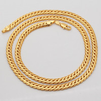 Wholesale 18K Real Gold Plated Necklace With quot K quot Stamp Men Jewelry New Trendy Chunky Snake Chain Necklace N308