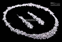 Wholesale Twinkle Plated crystal wedding bridal jewelry sets rhinestone Allloy plated necklace and earrings piece NE037 Sample in