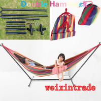 Wholesale HD Hammock Stand Muslin Fabric Hammock Travel camping RV outdoor swing yard