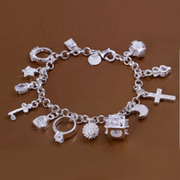 Wholesale best gift cheap hot Sterling Silver CZ Crystal gemstone fashion jewelry cross moon charms bracelet