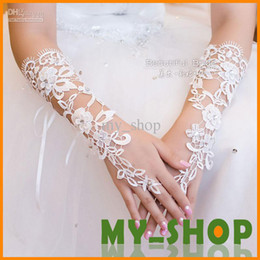 Wholesale Bridal Gloves About Luxury Lace Diamond Flower Glove Hollow Wedding Dress Accessories HQ0900