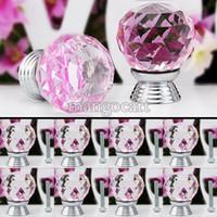 Cheap High Quality 8 Pcs Set Glass Crystal Cabinet Drawer Knob Kitchen Pull Handle Door Wardrobe Hardware 30mm Pink Color #6 TK0739