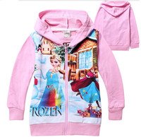 Cheap 2014 Frozen Baby Girls 2-8Yrs Elsa Anna Princess Hoodie Long Sleeve Terry Hooded Jumper Cartoon Hoodies Outerwear Kids Clothing 8 colors gmy