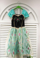 Cheap Wholesale - New Frozen Princess Queen Elsa Anna Costume Dress Tulle Girls Dresses cloak cape 3-8Yrs by DHL 40pcs lot