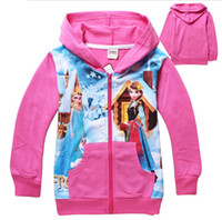 Cheap Baby Girls Elsa Anna Princess Hoodie Long Sleeve Hooded Jumper Cartoon Hoodies Outerwear Kids Cloth 8 colors 2-8Yrs gmy