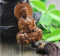 Wholesale happy buddha statue folk art indian sandalwood carving Car Hangings Decoration Chinese Wood Crafts