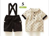 Girl Summer Short Baby Boy Suit Star Lepal T Shirt + Straps Shorts 2pcs Toddler Casual Set Kids Overalls Set 80-120 Fit Children Wear 5set lot GX757